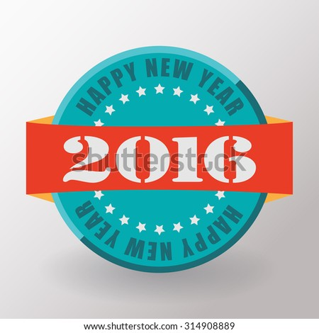 Happy New Year 2016 flat label and stamp.  2016 Merry Christmas card and background. Vector illustration.