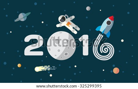 Happy New Year. Flat space theme illustration for calendar. The astronaut and rocket on the moon background. - stock vector