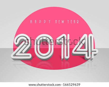 Happy New Year 2014 flyer, banner, poster or invitation with stylish text on pink and grey background.