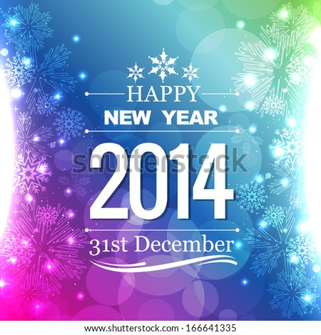 happy new year 2014 flyer style design - stock vector