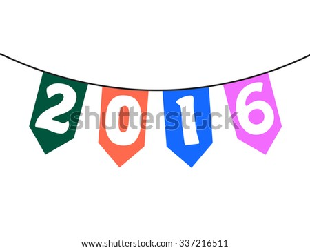 Happy New Year 2016 From Vector bunting and garland - stock vector