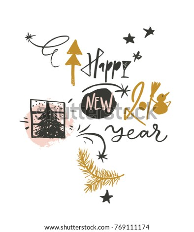 Happy New 2018 Year Funny Greeting Stock Vector 769111174 - Shutterstock