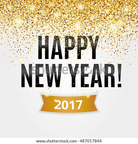 Happy New Year Gold Glitter Background For Flyer Poster