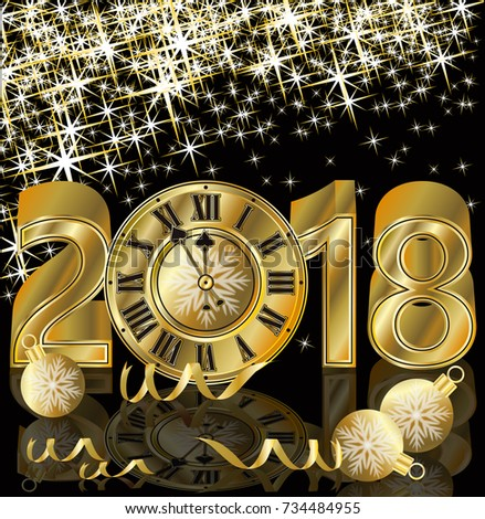 Happy New 2018 Year golden greeting wallpaper, vector illustration