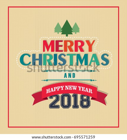 Merry Christmas Happy New Year Concept Stock Vector 160867850 ...