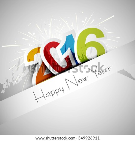 happy new year 2016 greeting card background - stock vector