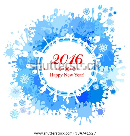 Happy new year 2016 greeting card. Celebration background with Christmas snowflakes and place for your text. Vector Illustration - stock vector