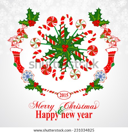 Happy New Year Greeting Card. Christmas wreath with candy, Colorful design. Vector illustration.  - stock vector