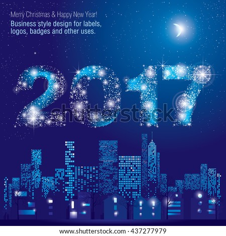 Happy New Year 2017 greeting card. City Lights. Vector illustration of city with lighting windows, the moon, trees, lamps and houses in winter time. Holidays concept.