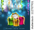 Happy New Year greeting card. EPS 10. - stock vector