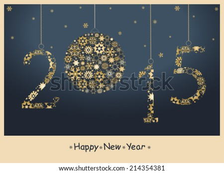 Happy New Year 2015 greeting card from golden snowflakes. Vector - stock vector