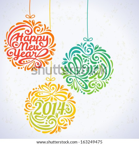 Happy New Year 2014 Greeting Card in minimalistic style. New year lettering. Calligraphy. Vector illustration. Banner. Invitation design. - stock vector
