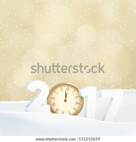 Happy new year 2017 greeting card, invitation. Glittering golden background with bokeh lights, numbers, old watch and falling snow. Vector illustration.