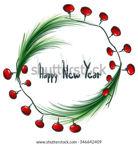 Happy New Year greeting card or poster design with Christmas ornaments and branches of Christmas trees in a circle. vector illustration.