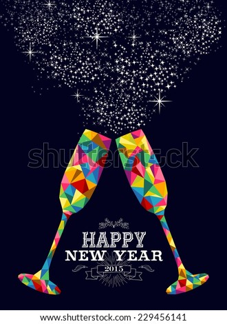 Happy new year 2015 greeting card or poster design with colorful triangle glass and vintage label illustration. EPS10 vector file with transparency layers. - stock vector