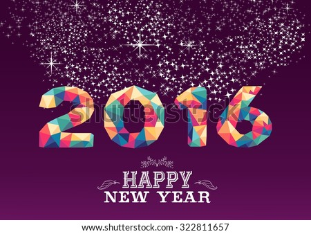 Happy new year greeting card poster stok vektr 322811657 shutterstock happy new year greeting card or poster design with colorful triangle 2015 shape and vintage label m4hsunfo