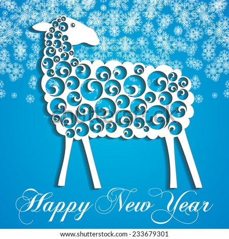 Happy New Year Greeting Card. Sheep with shadow. Blue and white color. Trendy Design Template. vector illustration - stock vector