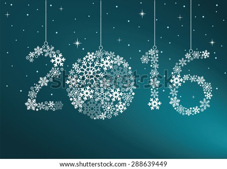 Happy New Year 2016 greeting card. Snowflake background
