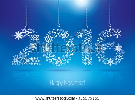 Happy New Year 2016 greeting card. Snowflake background.