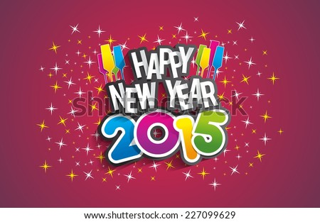 Happy New Year 2015 Greeting Card vector illustration - stock vector