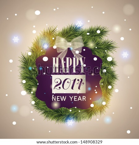 Happy new year greeting card - vector illustration. Sparkle background - stock vector