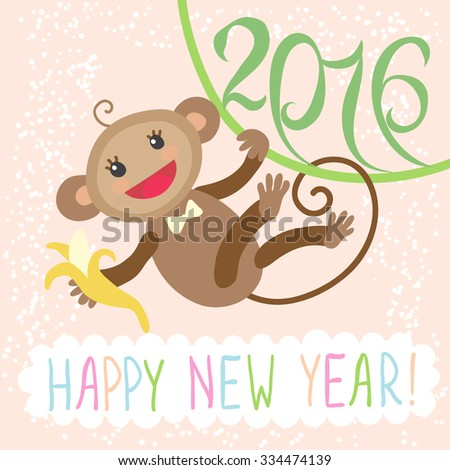 Happy new year greeting card 2016 with cute monkey - stock vector