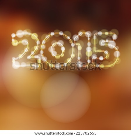Happy new year greeting card with 2015 glitter lights, vector illustration background
