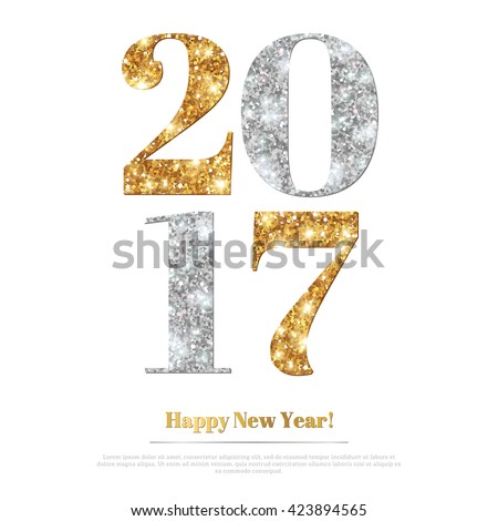 Happy New Year 2017 Greeting Card with Gold and Silver Numbers. Vector Illustration. Merry Christmas Flyer Design, Brochure Cover, Poster. Minimalistic Invitation Design. - stock vector
