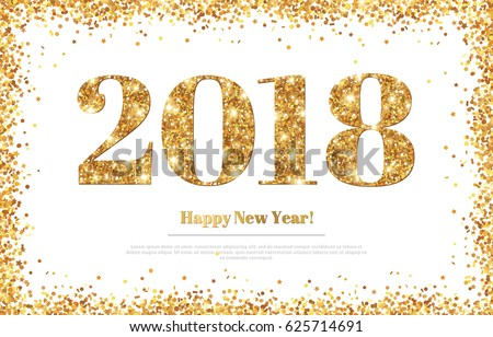 Happy New Year 2018 Greeting Card with Gold Numbers. Vector Illustration. Merry Christmas Flyer Design, Brochure Cover, Poster, Minimalistic Invitation