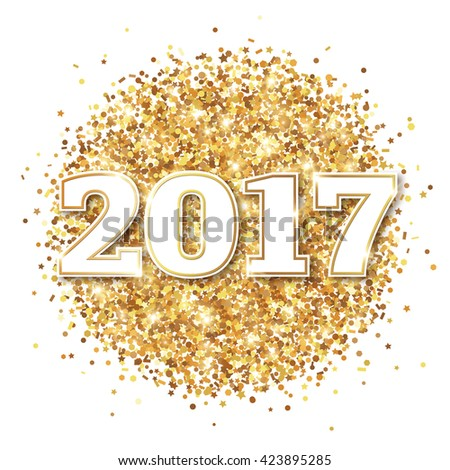 Happy New Year 2017 Greeting Card with Numbers on White Background. Vector Illustration. Merry Christmas Design. Golden Dust Explosion. Gold Firework