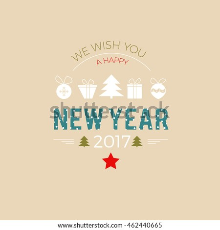 Happy New Year 2017 greeting card with stylish icons and letters marked with dots
