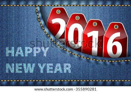 Happy New Year greetings and 2016 digits on red tags in blue jeans pocket. Vector illustration - stock vector