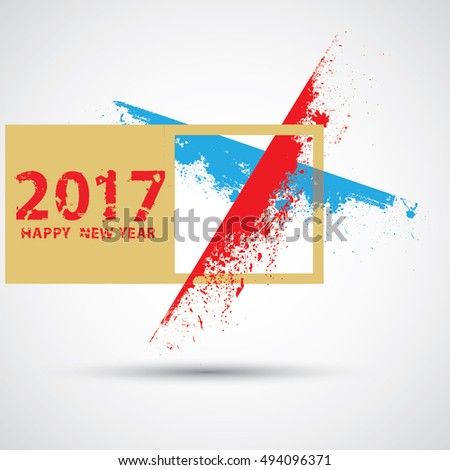 Happy new year 2017 Grunge text design .vector illustration.