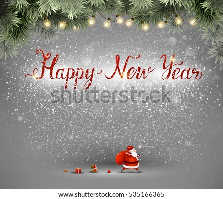 Happy New Year hand drawn red inscription and Santa Claus with bag and gifts on the gray background.