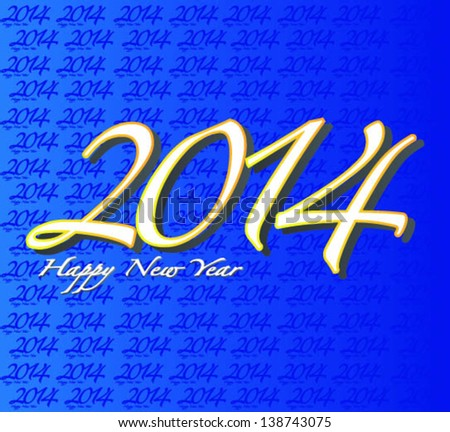 Happy New Year Hand Lettering 2014 - stock vector