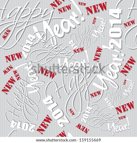 Happy new year hand lettering pattern. Vector illustration. - stock vector