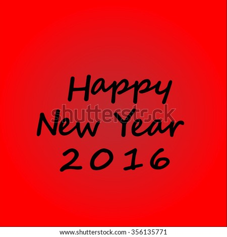 Happy New Year 2016 hand-lettering text on red background. - stock vector
