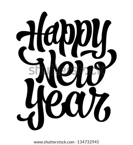 Happy New Year hand lettering vector - stock vector