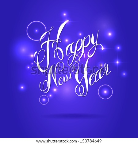 HAPPY NEW YEAR hand written on blue background - stock vector