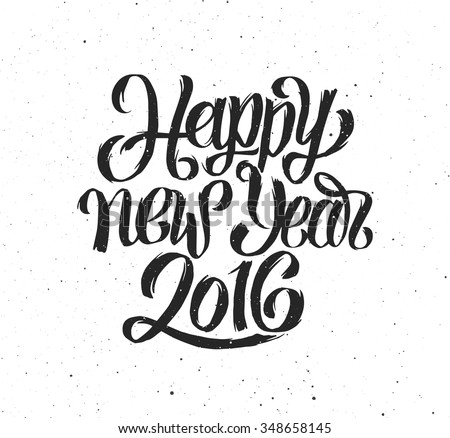 Happy New Year 2016 handmade greeting card design. Chinese Calligraphy for Year of the Monkey 2016. Vector illustration. 2016 year handdrawn lettering on vintage grunge background. Retro poster - stock vector