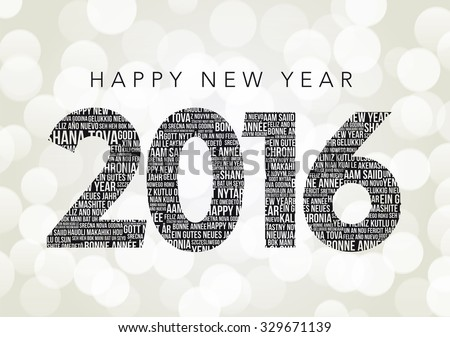 Happy New Year 2016 - Happy New Year in many languages - stock vector