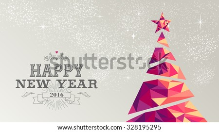 Happy new year 2016 holiday decoration greeting card or poster design with colorful triangle christmas pine tree and vintage label illustration. EPS10 vector. - stock vector
