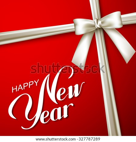 Happy New Year. Holiday Vector Illustration. Lettering Composition On The Red Background With White Bow And Ribbon - stock vector