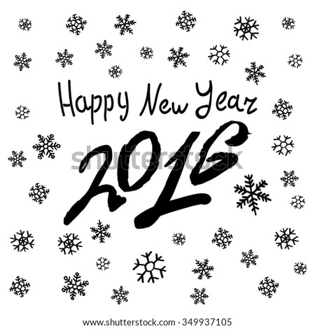 Happy New 2016 Year. Holiday Vector Illustration With Lettering Composition with burst art - stock vector