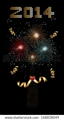 Happy new year 2014 holidays champagne bottle with fireworks sparkles greeting card background. EPS10 illustration organized in layers for easy editing.