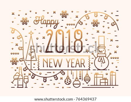 happy new year horizontal banner greeting stock vector 764369437