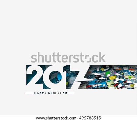 Happy new year 2017 horizontal Banner Vector Design Background