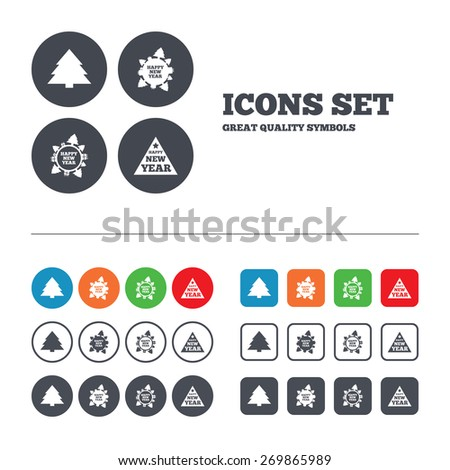 Happy new year icon. Christmas trees signs. World globe symbol. Web buttons set. Circles and squares templates. Vector - stock vector