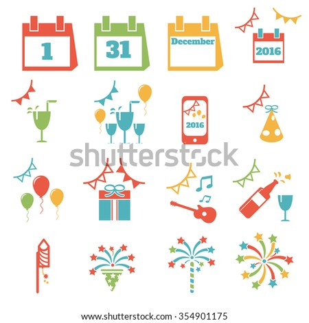 happy new year icon colorful . vector illustration