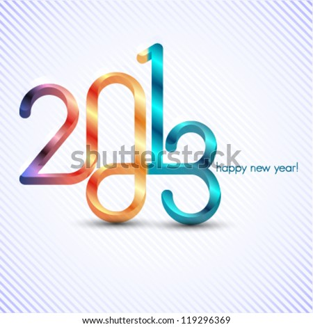 happy new year 2013 illustration, infinity symbol - stock vector